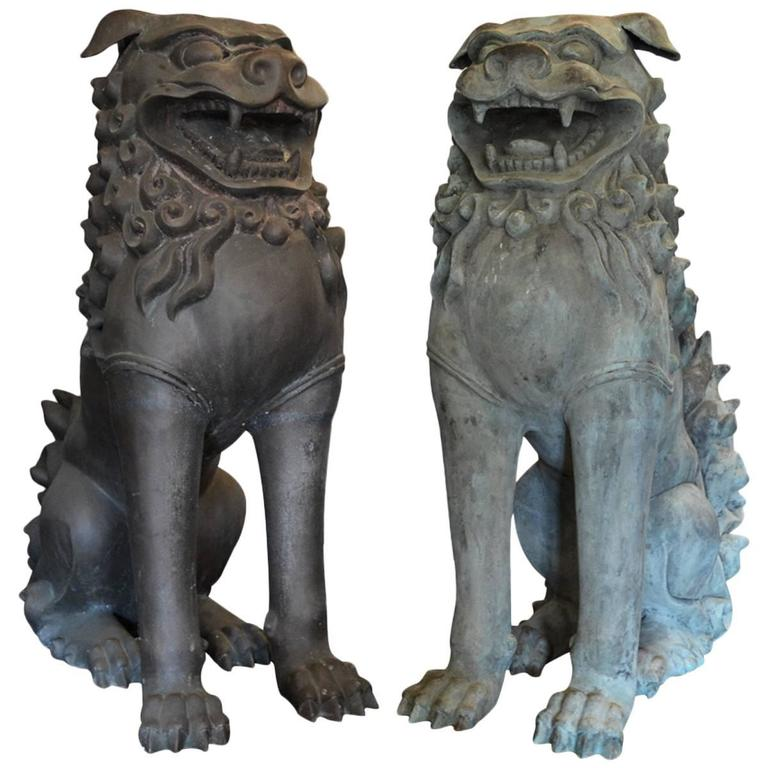 Fine Chinese Bronze Life Size Foo Dogs with Patina For Sale