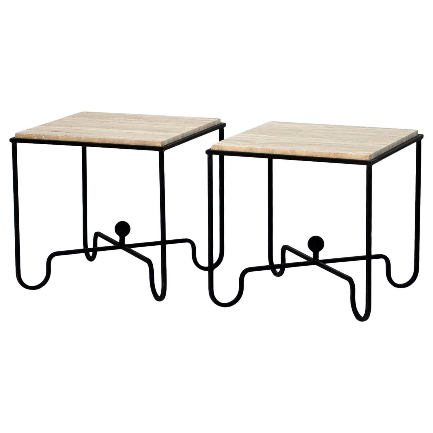 Pair of wrought iron and travertine side tables after for Wrought iron side table