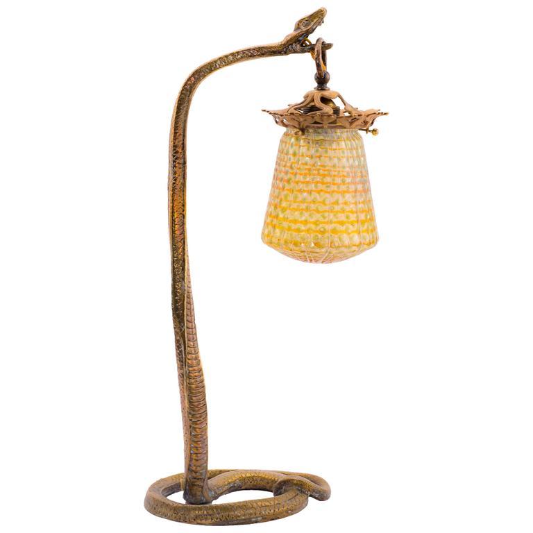 Austrian Art Nouveau Bronze And Glass Serpent Lamp