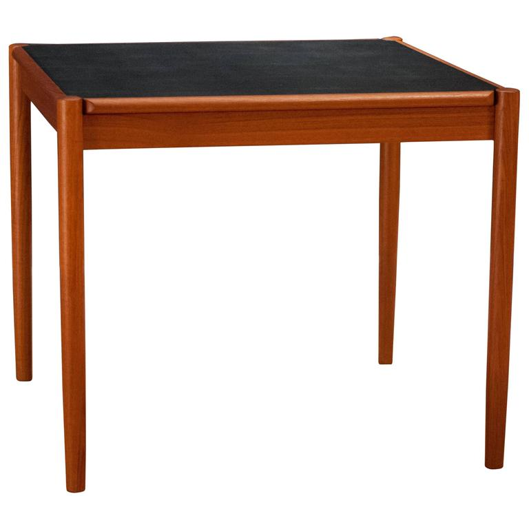 Vintage Danish Teak and Leather Flip Top Dining Table