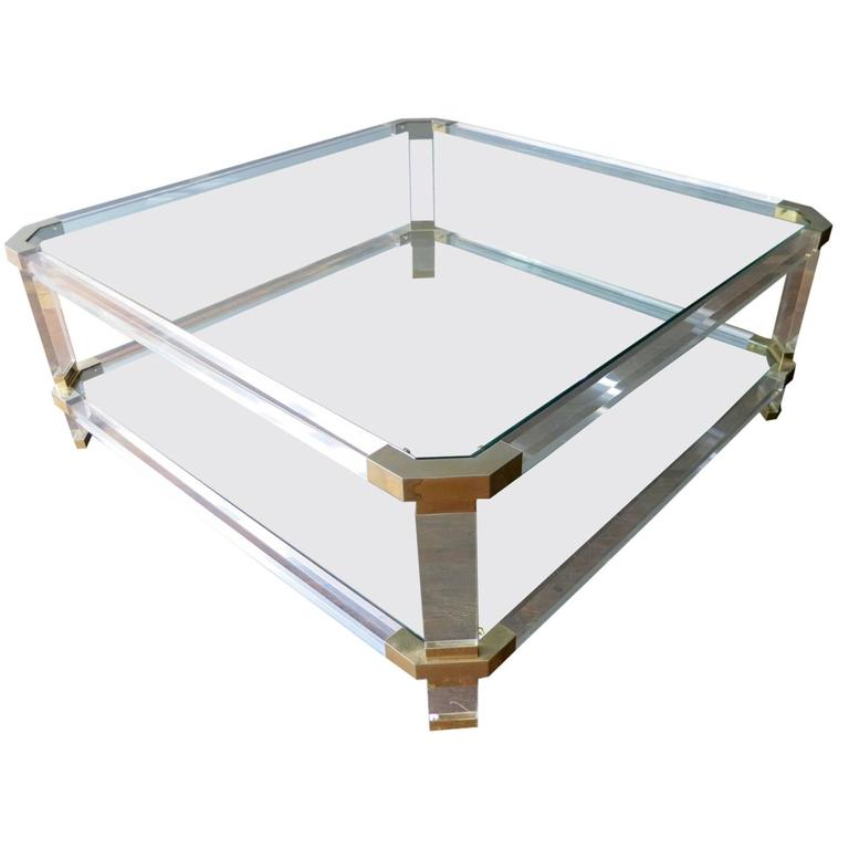 Large french lucite and brass coffee table at 1stdibs for Lucite and brass coffee table