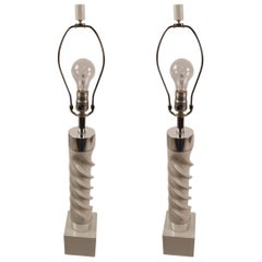 Pair of White and Chrome Twist Lamps