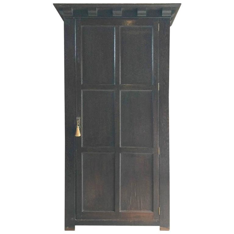 Antique Single Wardrobe Armoire One Door Oak 19th Century Victorian For Sale