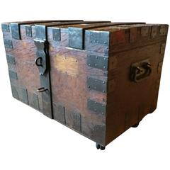 Antique Silver Chest Trunk Oak Victorian Coffee Table, 19th Century
