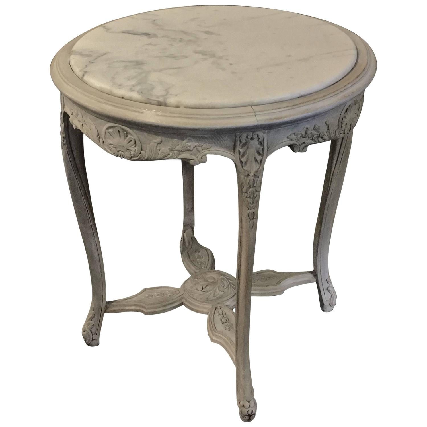 Antique french painted carrera marble top table at 1stdibs for Table carrera