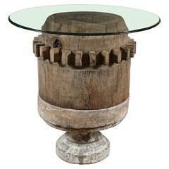 Wood Gear Pedestal Base Table
