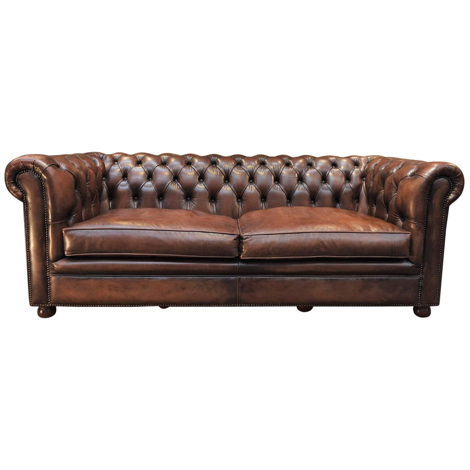 Vintage Brown French Leather Chesterfield Sofa At 1stdibs