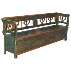 Antique Original Painted Long Green Storage Bench, circa 1860