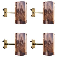 Four Solid Copper and Brass Sconces