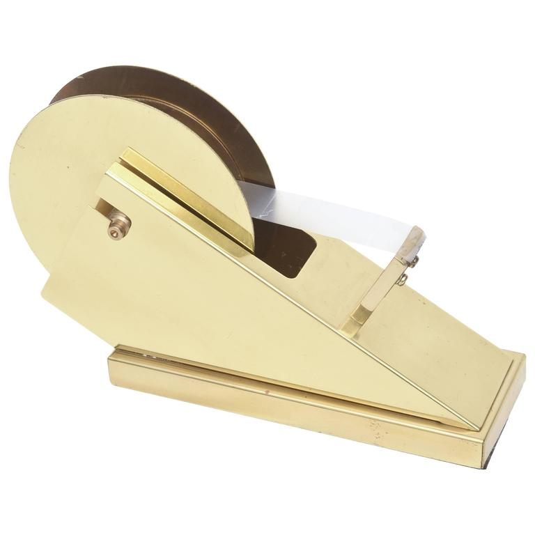 Modernist and Sculptural Brass Tape Dispenser/Tape Holder