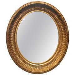 "English Oval Gilt Frame Mirror (23 3/4"" x 20 1/2"")"