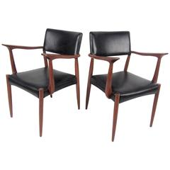 Pair of Mid-Century Rosewood and Leather Armchairs