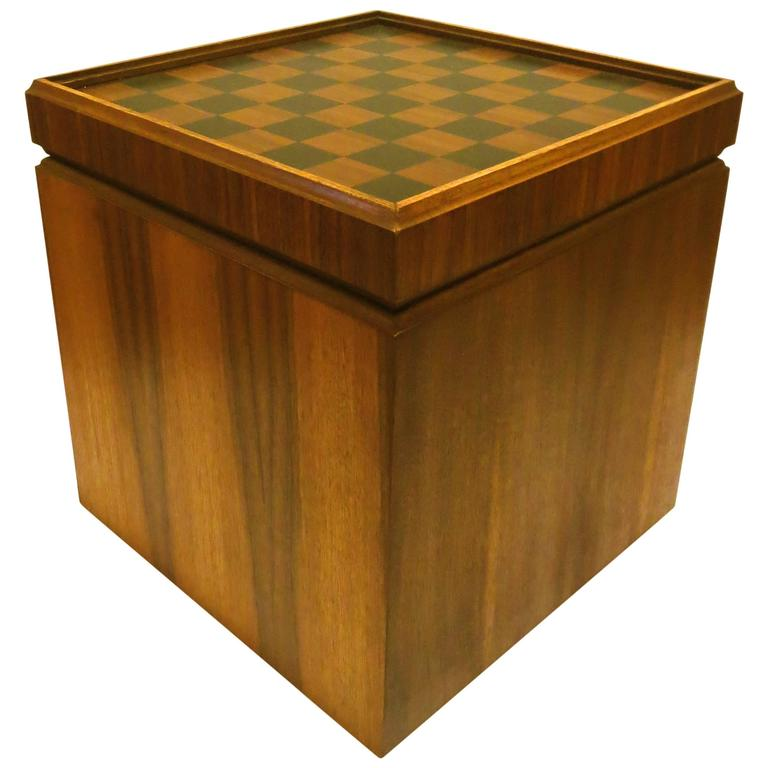 1950s american modern mid century reversible top small chess table