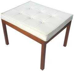 1960s White Vinyl Tufted Bench by Hibriten Chair Co