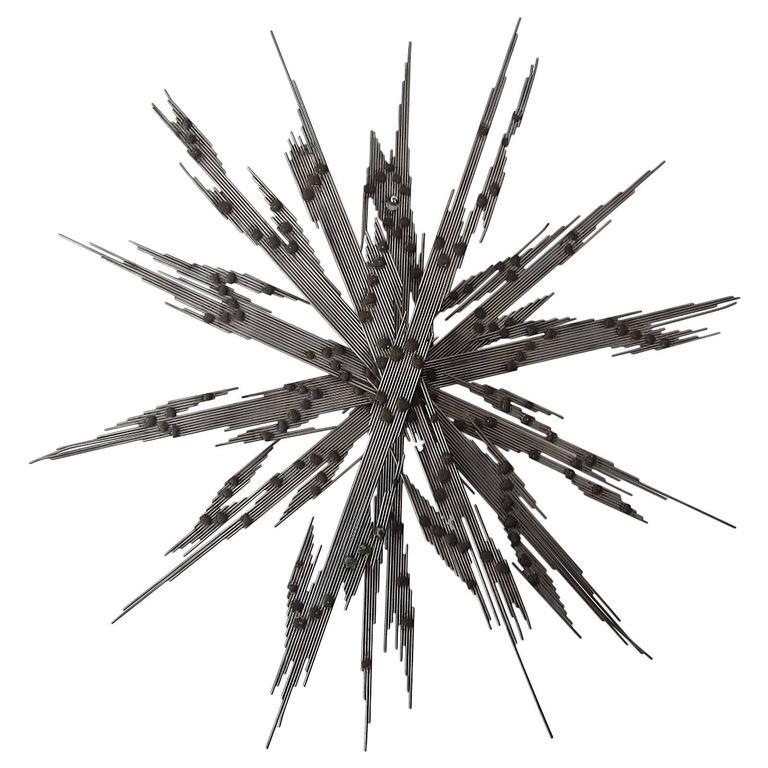 Steel Spoke Midcentury Multi-Dimensional Wall Sculpture