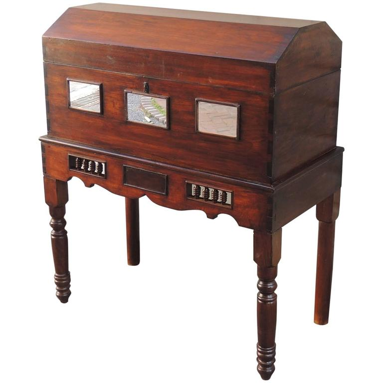 Early 19th C Spanish Colonial Cedar Wedding Case on Stand