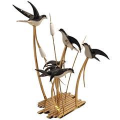 Rare Signed Licio Zanetti Murano Italian Vetri Art Glass Birds Sculpture