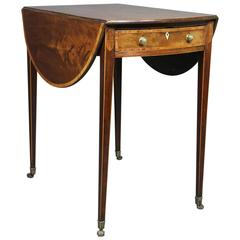 George III Mahogany and Rosewood Banded Pembroke Table