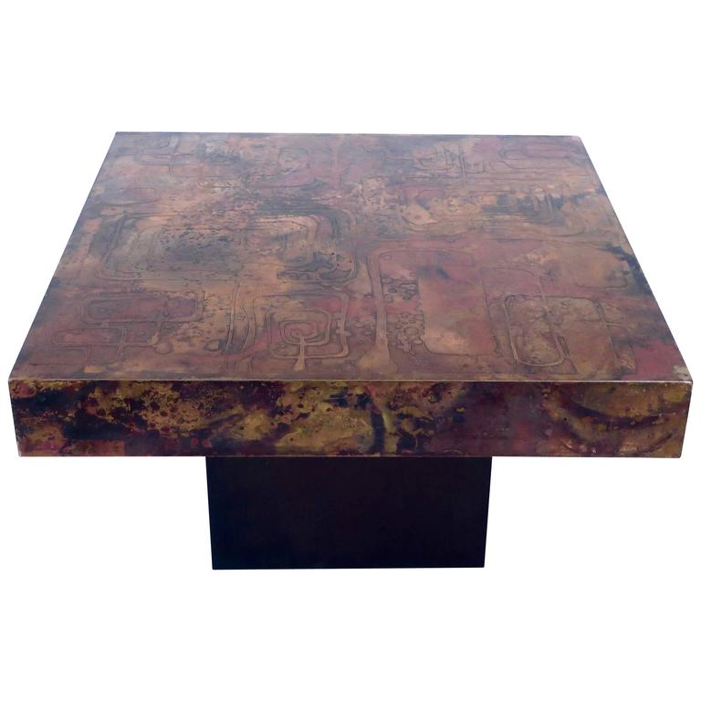 Belgian Coffee or Side Table with Etched, Patinated Copper Top, circa 1970 For Sale