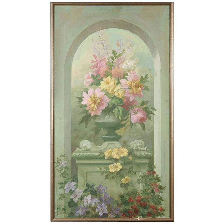Floral Oil Painting on Canvas For Sale