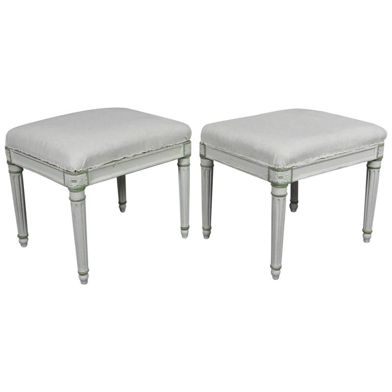 Pair of Louis XVI Style White Painted Footstools