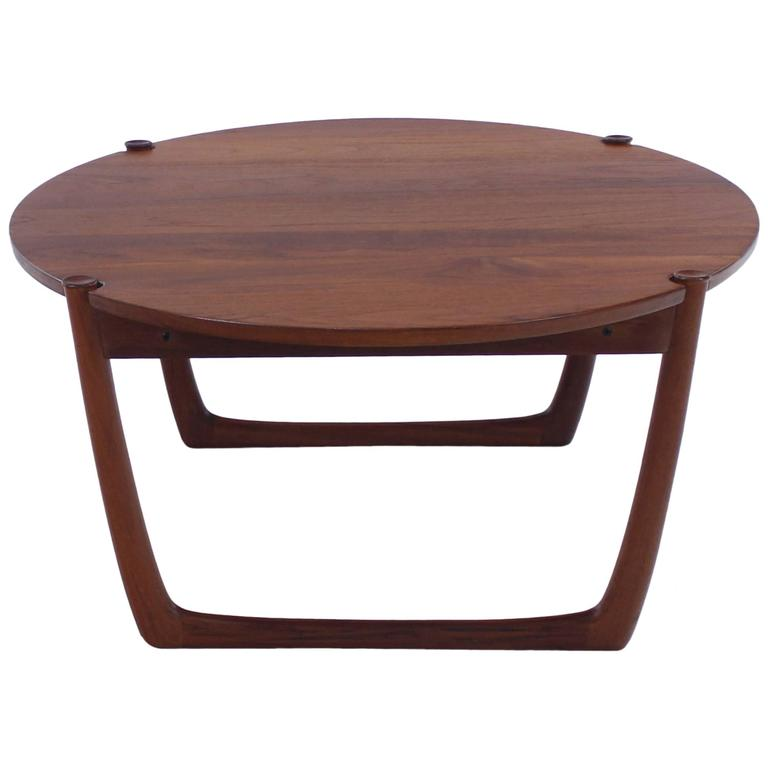 danish modern solid teak occasional table designed by peter hvidt at
