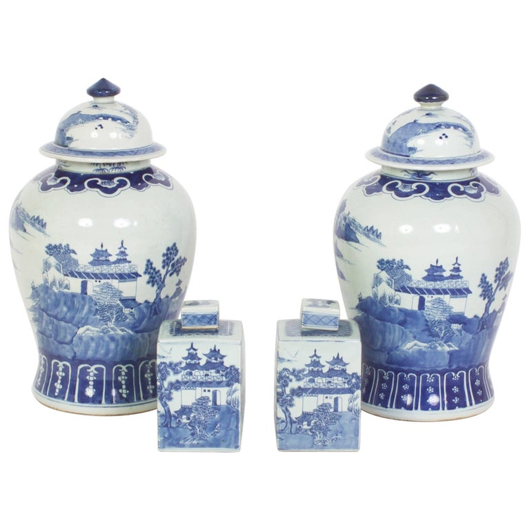 Group of Chinese Export Style Blue and White Porcelain