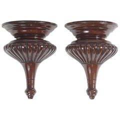 Pair of Mahogany Carved Wall Brackets