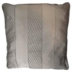 Throw pillow in dark gold/ tan Silk with Stitched Pattern Stripe/ Comfort Pillow