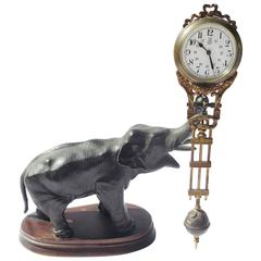 19th Century French Bronze Elephant Clock with Pendulum Movement