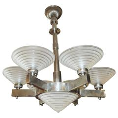 French Art Deco Chandelier by Georges Leleu