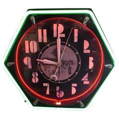 Art Deco Hexagon Neon Wall Clock