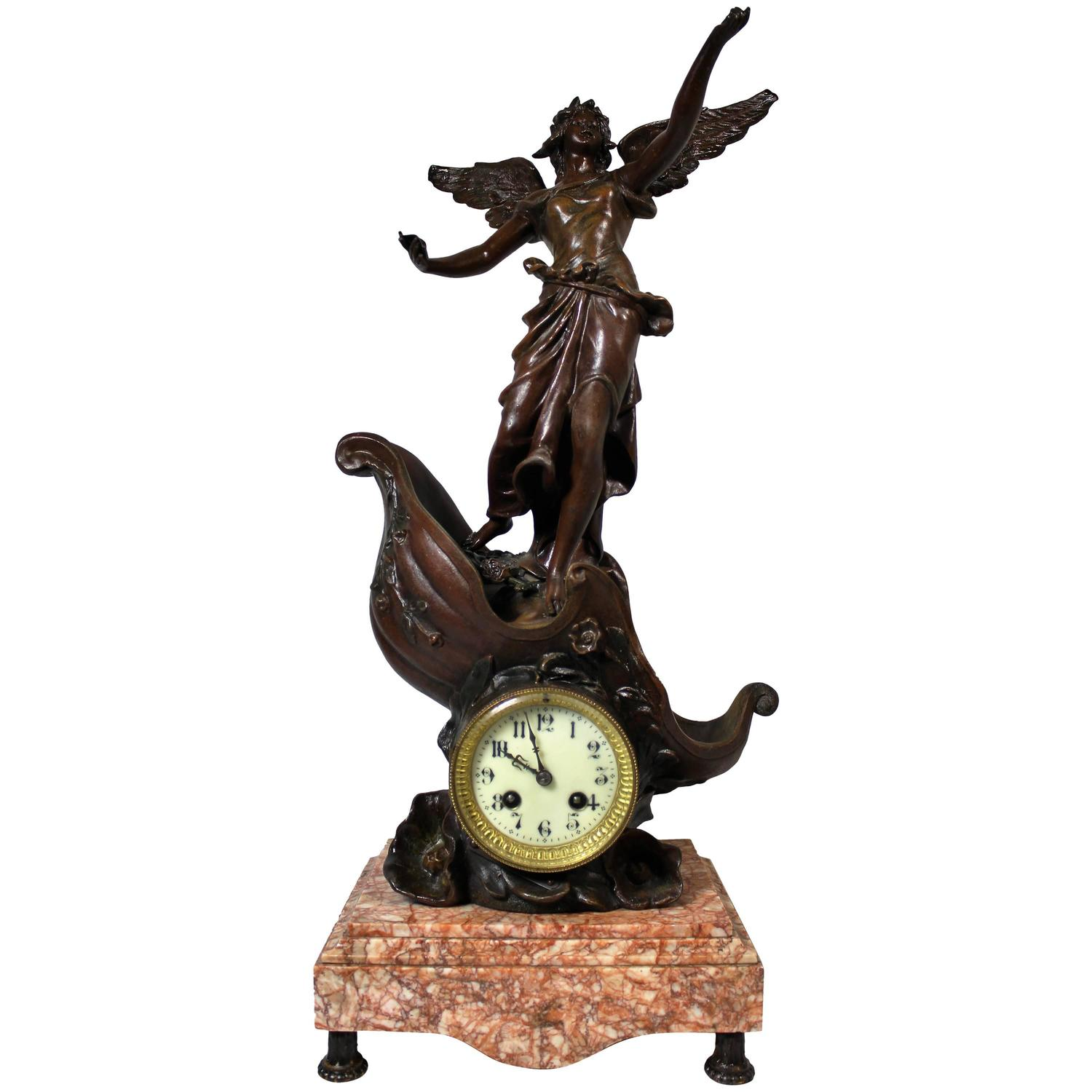 french art nouveau clock on marble base spelter sculpture titled french art nouveau clock on marble base spelter sculpture titled le char de