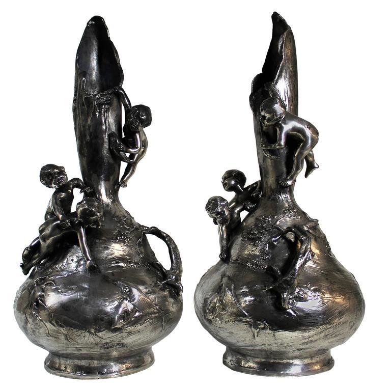 Art Nouveau Silver Plated Vases