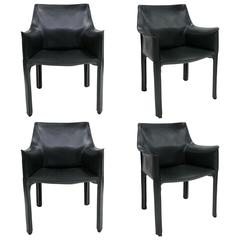 Set of Four Grey Cab Armchairs by Mario Bellini for Cassina