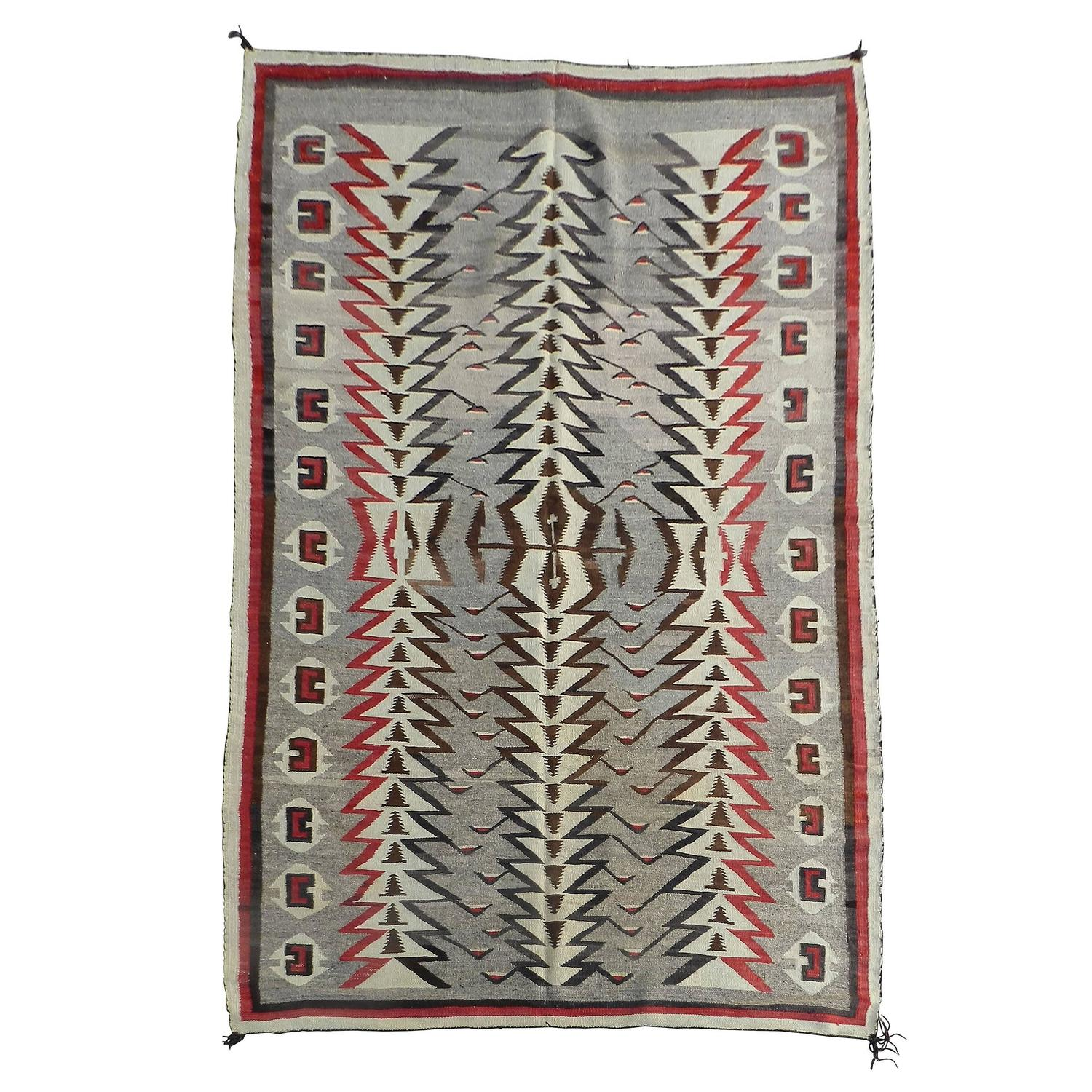 Nice unique looking vintage navajo trading post rug circa for Native american furniture designs