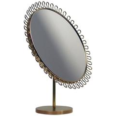 Mid-Century Sculptural Brass Vanity Table Mirror in the Manner of Josef Frank