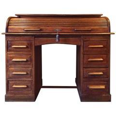 Antique Roll Top Desk Twin Pedestal Writing Desk Solid Oak Edwardian Solid Oak