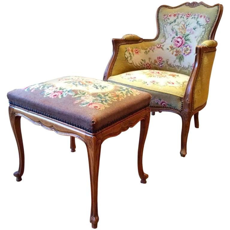 Antique Armchair French Mahogany Footstool Tapestry Victorian 19th Century For Sale