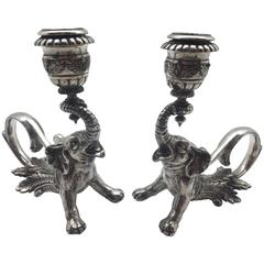 Pair of Early 20th Century French Silvered Bronze Elephant Candlesticks