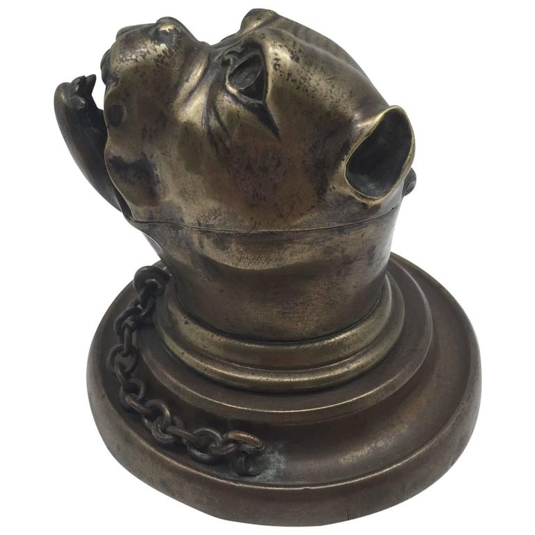 19th Century Bronze Growling Dog with Collar and Chain Inkwell For Sale