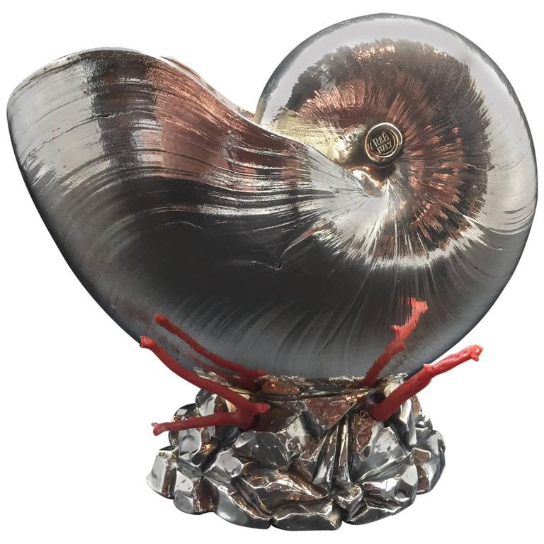 Italian Silver Coated Nautilus Shell on a Naturalistic Base with Red Coral 1