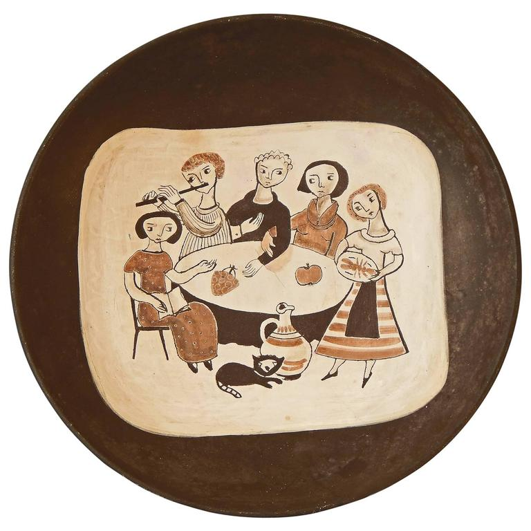 """""""Gathering Around the Table,"""" Large, Rare Mid-Century Bowl by Meister"""