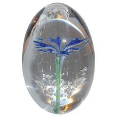 Paperweight Egg Daum Blue Flower