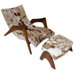 "Rare ""Crescent"" Lounge Chair and Ottoman by Adrian Pearsall in Cowhide"
