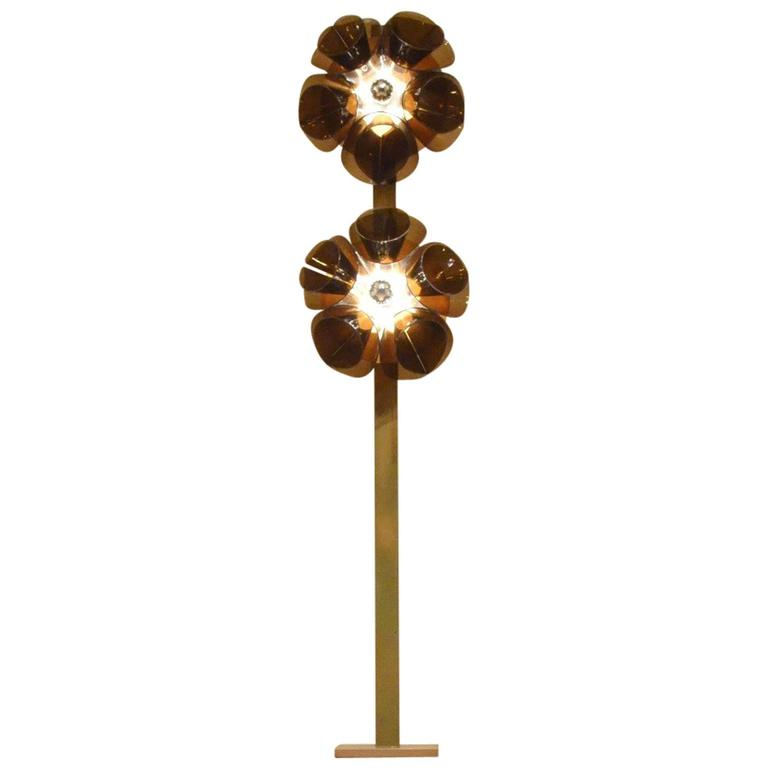 Extra large 1960s brown lucite and painted metal flower for Aluminium flower floor lamp in silver