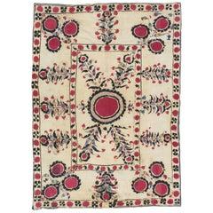 Antique Suzani Textile, Fine Uzbek, handmade rug, Tapestry, Silk Flowers