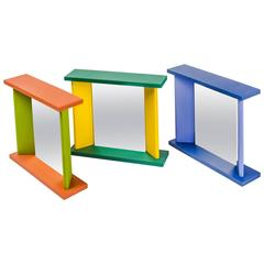 Three Memphis Table Mirrors by Marco Zanini in vibrant colors, Post Modern 1990