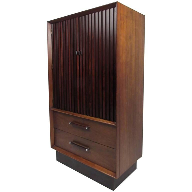 Mid-Century Rosewood and Walnut Armoire by Lane
