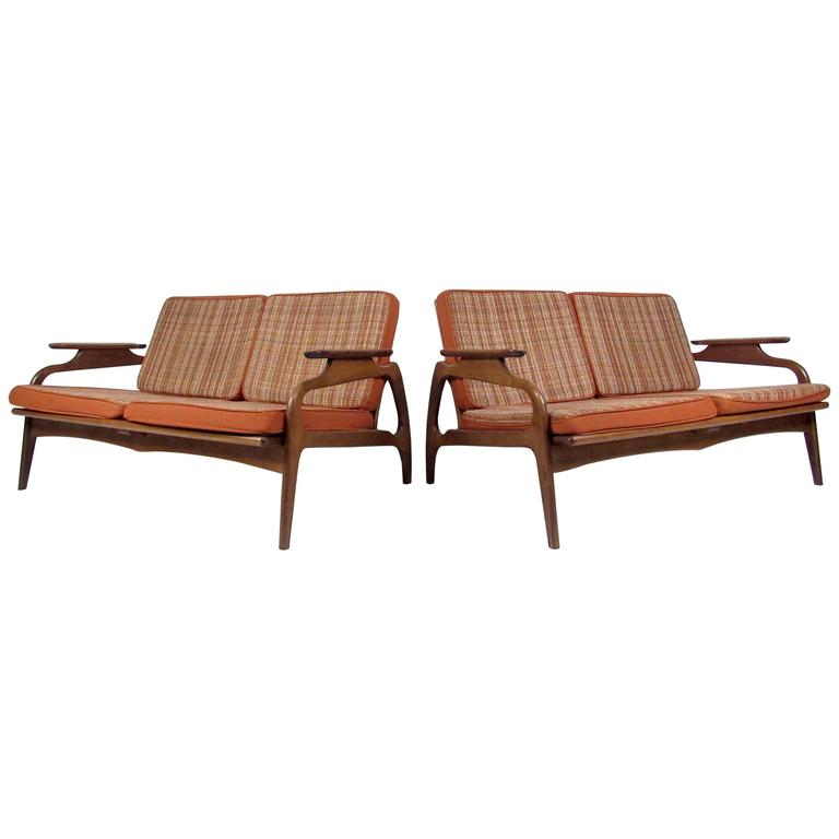 Two Mid-Century Upholstered Settees